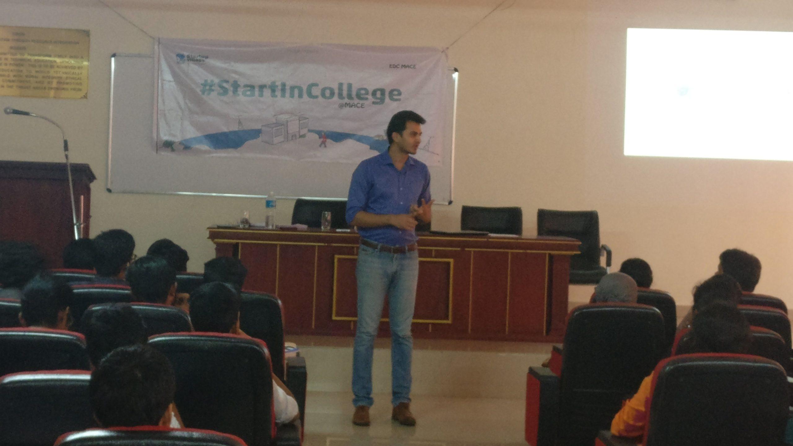 Start in college orientation talk by Sijo Kuruvila
